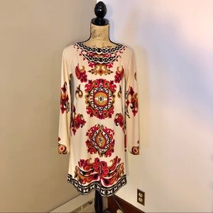 TIBI Vibrant Print Shift Dress Beige Pink Orange S
